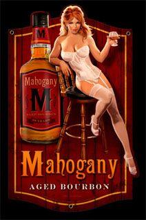 MAHOGANY BOURBON SHAPED HILDEBRANDT METAL SIGN PINUP GIRL HAND SIGNED FREE PRINT