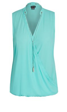 Women's Plus Size Wrap Front Sleeveless Top | City Chic USA