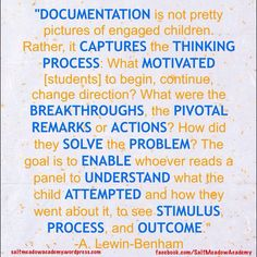 Importance of documentation in Reggio classrooms. Inquiry Based Learning, Early Learning, How Does Learning Happen, Early Childhood Quotes, Reggio Emilia Classroom, Emergent Curriculum, Learning Stories, Visible Learning, Teaching Quotes