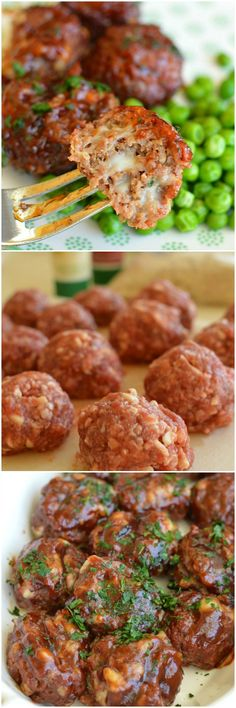 Barbecue Mozzarella Meatballs are a loaded with cheesy goodness and basted in scrumptious barbecue sauce. I make them ahead and bake them right before dinner!