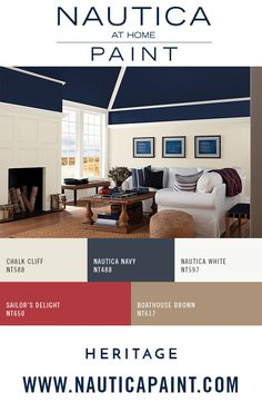"Design Color Tip: The ceiling or the ""fifth wall"", is a great way to showcase a gorgeous paint color. Using a warm, dark color creates an intimate atmosphere. Browse nautical inspired pops of color."