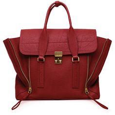 3.1 Phillip Lim Pashli Medium Satchel (13 745 UAH) ❤ liked on Polyvore featuring bags, handbags, purses, bolsas, crimson, red satchel, red satchel purse, satchel handbags, burgundy handbag and oversized purse