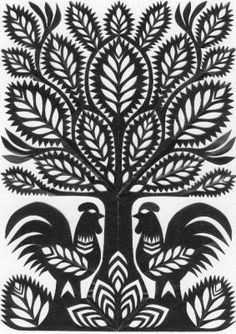 Polish Roosters in the Sacred Trees Paper Snowflake Patterns, Paper Patterns, Scandinavian Folk Art, Ukrainian Art, Origami, Traditional Paintings, Tribal Art, Pattern Art, Paper Cutting