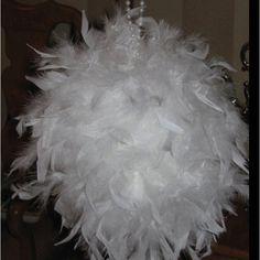 Feather boas glue gunned to styrofoam balls!