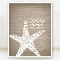Starfish Connection - Custom Beach Wedding Date and Name Print - 8x10 - Personalized Wedding Gift - Bridal Shower Gift - Engagement Present. $20.00, via Etsy.