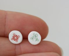 Star flower and clover - Porcelain Earrings