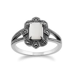 Sterling Silver Art Deco 1ct Mother of Pearl & Marcasite Ring