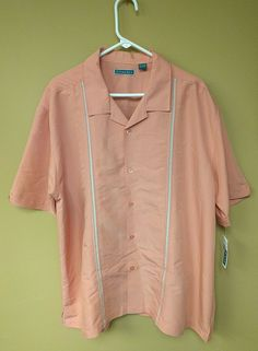 Cubavera Canyon Clay Pink Short Sleeve Button Front Bowling Camp Shirt Sz 2X NWT | Clothing, Shoes & Accessories, Men's Clothing, Casual Shirts | eBay!