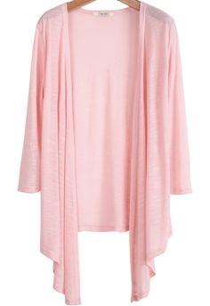 Pink Half Sleeve Loose Knit Cardigan Top - Sheinside.com