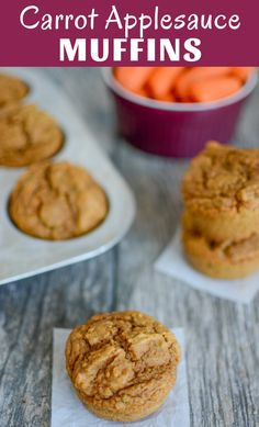 These Carrot Applesauce Muffins are lightly sweetened and kid-friendly. Made with pantry staples, they freeze well and are great for a healthy breakfast, lunch or snack! Baby Muffins, Carrot Muffins, Baby Food Recipes, Baking Recipes, Snack Recipes, Baby Recipes With Carrots, Veggie Recipes, Healthy Breakfast Muffins, Breakfast For Kids