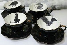 puffpunk: Spooky Tea Set // Customize with your. Goth Home Decor, Gypsy Decor, Gothic House, Cup And Saucer, Tea Time, Tea Party, Tea Cups, Tableware, Kitchenware