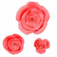 Coral DIY Paper Flowers ( set of 3 flowers)