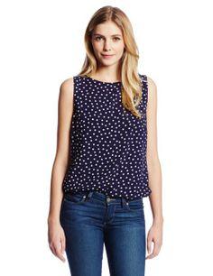 Three Dots Women's Sleeveless Polka Dot Print Boatneck Top