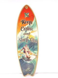 KEEP CALM AND SURF ON SURFING SURFBOARD DECORATIVE BEACH BAR WALL SIGN