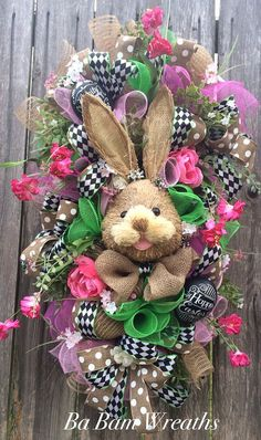 Reserved~ Easter Wreath, Easter Swag, Bunny Wreath, Spring Wreath  Here comes Peter Cottontail hopping down the bunny trail! Hippity Hop- Easters on