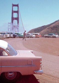 "vintagegal: "" Golden Gate Bridge, San Francisco, Kodachrome by Chalmers Butterfield (via) "" 1950s Aesthetic, Aesthetic Themes, Aesthetic Collage, Aesthetic Pictures, Aesthetic Girl, Aesthetic Clothes, Aesthetic Women, Aesthetic Vintage, Aesthetic Painting"