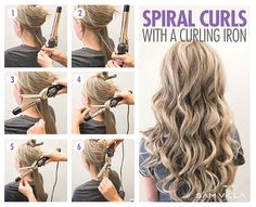 How To Curl Your Hair – 6 Different Ways To Do It We've got six techniques to create 6 different types of curls using your curling iron and flat iron! Curling Thick Hair, Hair Curling Tips, Curling Wand Hairstyles, How To Curl Hair With Curling Iron, How To Wave Hair, Hair Curling Tutorial, Curling Hair With Wand, Curls With Wand, Curling Iron Curls