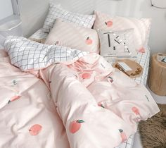 Harajuku Plaid Peach Bedding Set Notice:The bedding set only have quilt cover,bed sheet and pillow case Bed sheet Quiltcover Pillowcase Bed sheet Quiltcover Pillow Cute Room Decor, Wall Decor, Room Ideas Bedroom, Bedroom Decor, Bedroom Wall, Master Bedroom, Design Bedroom, Girls Bedroom, Decorating Rooms