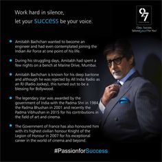 Work hard in silence let your success shout. #AmitabhBachchan #Passion for #Success #Mumbai Visit http://ow.ly/WmKdA