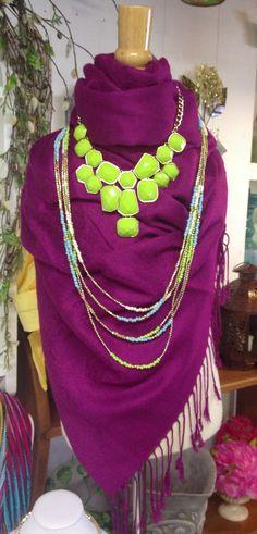 BRIGHT statement jewelry on a colored scarf #fashion #fashionista #jewelry