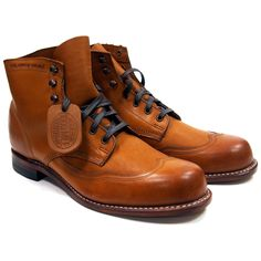 Wolverine Addison 1000 Mile Wingtip Boots - Tan - Made in USA