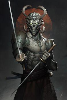 Yoshimitsu My own take on the samurai from the. - Art of Max Elmberg Sjöholm Oni Samurai, Samurai Warrior, Fantasy Armor, Dark Fantasy Art, Fantasy Samurai, Fantasy Character Design, Character Art, Samurai Concept, Samurai Artwork