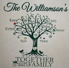 Family Tree Ceramic Tile Wall Plaque with Names and Birthstones | My Family Tree Plaque