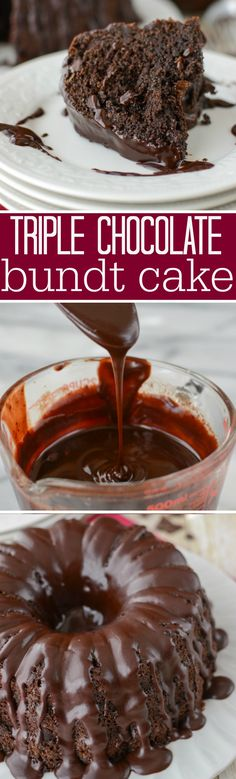 Triple Chocolate Bundt Cake - this EASY cake recipe has two secret ingredients that makes it super flavorful and moist!! It's my favorite chocolate cake recipe!