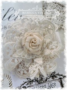 Vintage Lace Tattered Rose Pin 4 - Tattered Lace Roses - A Gathering Place http://gatheryeroses.com/itemView.php?catId=83&itemId=1487