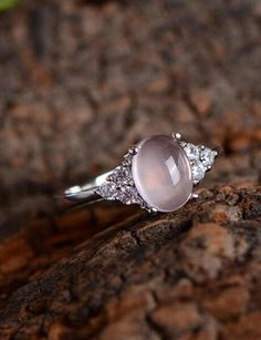 unique pink promise ring, simple shiny rose quartz wedding ring from jewelsin.com