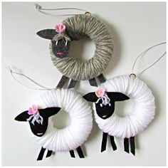 Handmade Easter lamb ornament - These adorable handmade lamb Easter ornaments have wrapped yarn bodies, felt legs, and hand-embroid - Sheep Crafts, Yarn Crafts, Diy And Crafts, Bunny Crafts, Etsy Crafts, Easter Tree, Easter Wreaths, Advent Wreaths, Spring Crafts