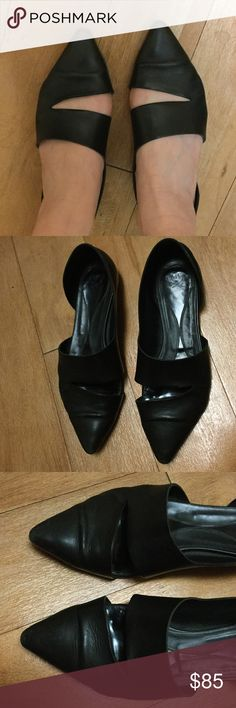 Black Leather McQ by Alexander McQueen Flats Shoes Very very well worn, see pics for condition, scuffs and signs of wear throughout, leather indented on fronts (see photo) due to wear. As is. Super super comfortable (thats why they are so well worn), I wore these constantly while I was living in New York - a testament to how comfy they are. And so cute and stylish! McQ Alexander McQueen Shoes Flats & Loafers