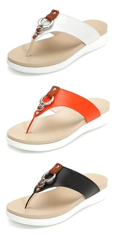 970cec4c8226 Big Size Metal Clip Toe Leather Flat Casual Beach Slippers is comfortable  to wear. Shop on NewChic to see other cheap women sandals on sale.