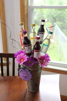 Wine gifting done right 7 creative ideas stylish diy wine gift baskets ideas 46 Liquor Bouquet, Gift Bouquet, Beer Bouquet, Alcohol Bouquet, Craft Gifts, Holiday Gifts, Christmas Gifts, Christmas Ideas, Inexpensive Bridal Shower Gifts