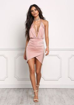 Blush Low Cut X Strap Halter Dress - Bodycon - Dresses #fashion #styles #women's clothing Shop @ CollectiveStyles.com