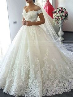 decc4472158  258.99 Dresswe.com SUPPLIES Ball Gown Appliques Chapel V-Neck Hall Wedding  Dress 2019
