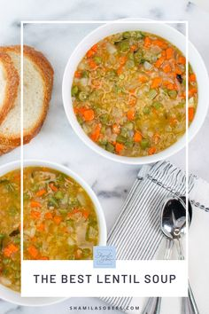 This lentil soup recipe is simple and comes together quickly with mostly pantry ingredients. It's seasoned with a few of my favorite spices and plenty of freshly ground black pepper. Honestly, it's the best lentil soup I've ever had! Baby Food Recipes, Diet Recipes, Vegetarian Recipes, Protein Recipes, Beans Curry, Pureed Soup, Lentil Soup Recipes, Americas Test Kitchen, Fall Dinner