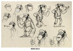 Concept Sketches of the Monkey Mr Bobo from Aardmans 'Pirates! band of Misfits!' by Jonny Duddle