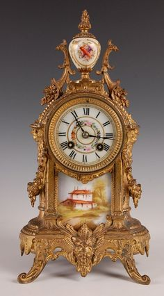 FRENCH SPELTER MANTLE CLOCK WITH MARTI MOVEMENT