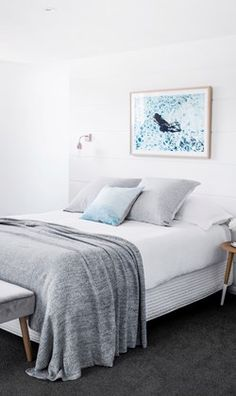 Total transformation: Hamptons-style haven Your bedroom could look like this – we can help! At Modsy we create renders designed specifica Dream Bedroom, Home Bedroom, Bedroom Decor, Surf Bedroom, Calm Bedroom, Master Bedroom, Bedroom Girls, Decor Room, Bedroom Lighting