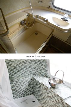 From M O O R E A S E A L: A Mod Airstream Remodel. Love the bathroom tile...inspiration for the wet area??