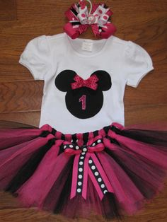 Minnie Mouse birthday Outfit by TheSewCuteStore on Etsy
