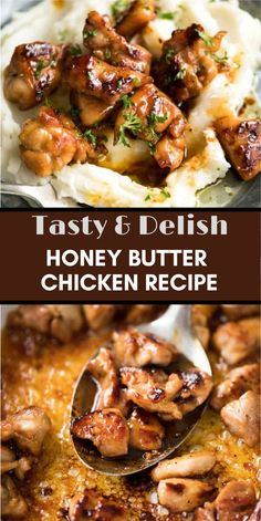 This Honey Butter Chicken is EPIC! Crazy quick and easy to make, I like making this with bite-size pieces to maximize the surface area that is caramelized in the stunning sauce! Turkey Recipes, Meat Recipes, Chicken Recipes, Dinner Recipes, Cooking Recipes, Healthy Recipes, Honey Recipes, Quick Recipes, Recipies