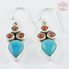 4.2 gm Traditional Design Coral & Turquoise Stone 925 Sterling Silver Earrings  #SilvexImagesIndiaPvtLtd #DropDangle