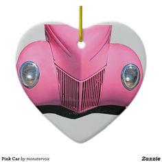 Pink Car Ceramic Ornament #Pink #Car #Auto #Automobile #Travel #Vintage #Classic #Holiday #Ornament