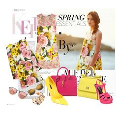 A fashion look from March 2015 featuring multi colored dress, floral jacquard dress and yellow patent leather pumps. Browse and shop related looks. Jacquard Dress, Patent Leather Pumps, Spring Trends, Wildfox, Yves Saint Laurent, Fashion Looks, Floral, Polyvore, Life