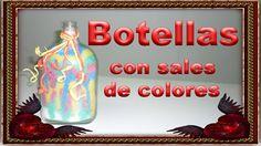 Botella con sales de colores..