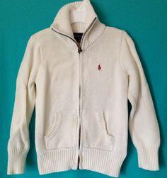 RALPH LAUREN Girls Cream Zip Up Front Sweater Sz 5 $59.75 BEAUTIFUL #RalphLauren #ZipFront #SchoolDressyEveryday