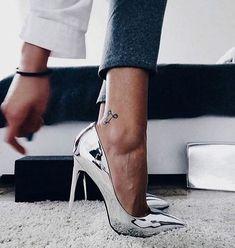 Silver chrome heels.