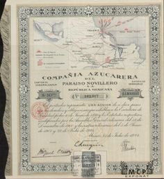Muzeum cennych papiru E0974 Compaňia Azucarera del Paraiso Novillero S. A. 10 Pesos México 22.07.1924 / AZP3MEX003